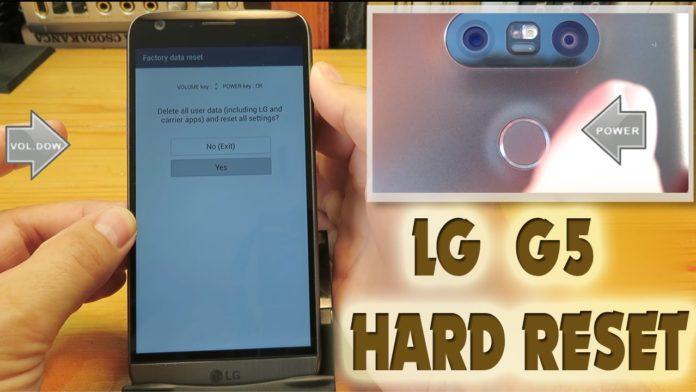 Come fare hard reset LG G5 SE