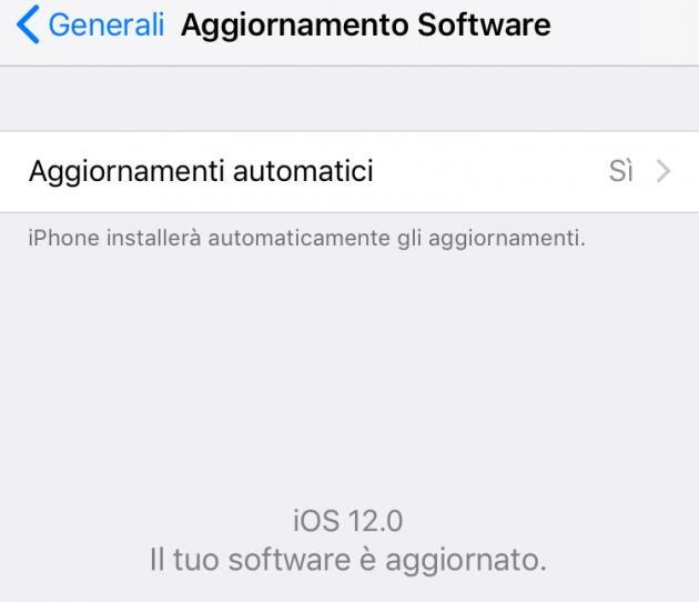 Come impostare gli aggiornamenti automatici su sistema operativo iOS 12
